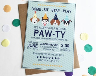 Puppy Party | Come sit stay play | Birthday Party invitation | Digital File