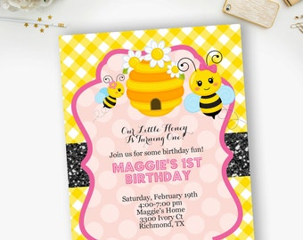 Bee Birthday Invitations, Pink Bumble Bee Birthday Invitation- YOU PRINT