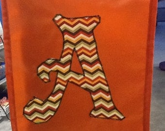 Your Choice Monogrammed Initial Handmade Garden Flag:  Initials A, B, D, R or T - Various Patterns - Chevron, Owls, etc.