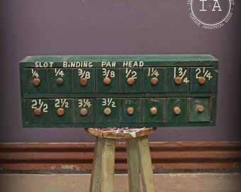 Vintage Industrial Green Handmade Wooden 16 Drawer Small Parts Storage Cabinet