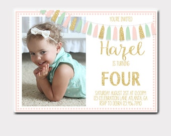 Pink and Gold Tassel Photo Invitation | Pink Mint and Gold Tassel Photo Invitation | Birthday Invitation