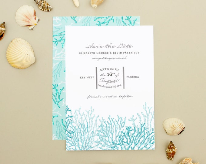 Beach Wedding Save the Date, Coral Save the Date Cards for Destination Weddings, Blue Save the Dates | Reef