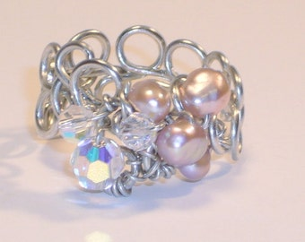 Freshwater Pearl & Swarovski Crystal Band,  Sterling Silver, Handcrafted Setting