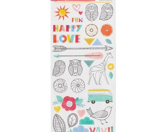 Amy Tangerine - Oh Happy Life Collection - 6x12 Sticker Sheet - 62 pieces - 376234
