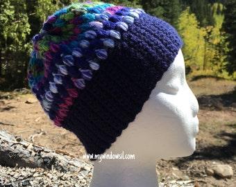 Crochet Puff Stitch Beanie, Baby, Child, Adult Size Slouch Beanie- Hat, Ski, winter hat- Navy Blue and pink, girls, girls hat
