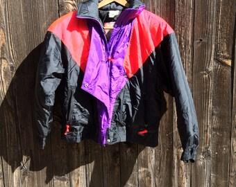 80s Ski Jacket, 1980s Skiwear, Womens Medium Retro Ski Coat, Black and Neon Color Block Nylon Ski Jacket, Edelweiss Skiwear