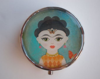 Pill box - Pill case - Pill container - Mint case - Candy container - Frida Kahlo
