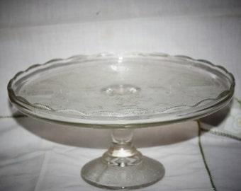 Vintage 1950's Jeanette Lyre or Harp Glass Pedastal Cake Plate