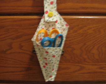 Sale Clearance-Scissor Holder  Made of Fabric with Loop for Hanging Fabric 3 --  Shipping Included