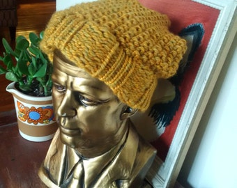 Hand Knit Slouchy Hat/Toque - 'Mustard Yellow' Flecked/Heathered Yellow