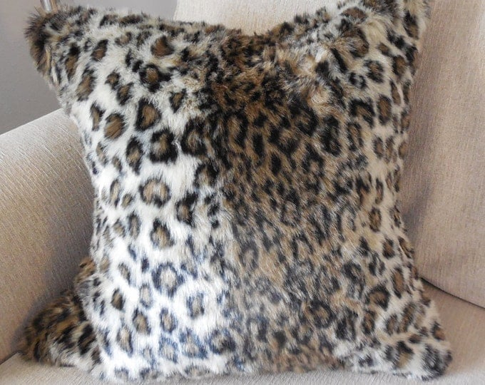 leopard print faux fur pillow - leopard fur pillow