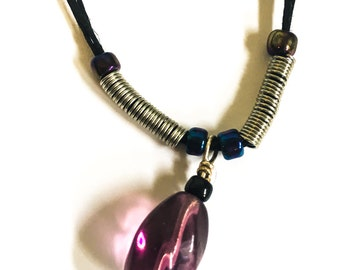 Black/Purple/Silver Necklace and Earring set