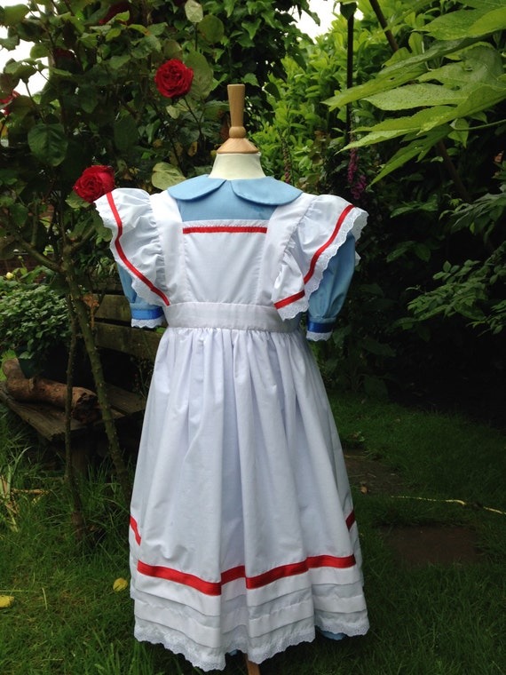 Vintage Style Children's Clothing: Girls, Boys, Baby, Toddler Alice in Wonderland Style Stage Costume Girls Victorian Dress and Pinafore Apron Blue $58.09 AT vintagedancer.com