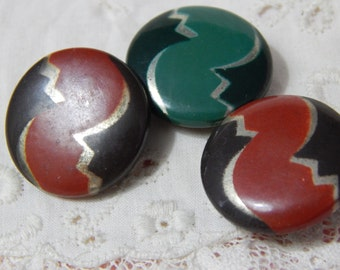 Celluloid Tight Top Buttons - 3 Same Design
