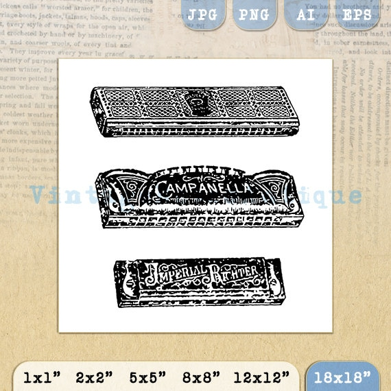 Antique Harmonicas Digital Image Download by ...