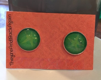 16mm Round Green Star Stud Earrings