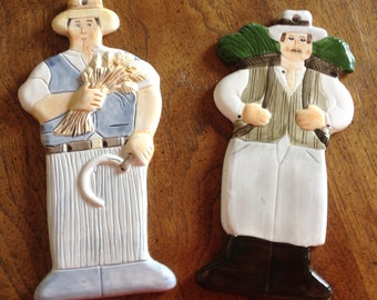 Vintage Kitchen/Dinning Room Wall Decor Two Figurines Les Artisans Sigma Tastesetter by Towle Co 1983 Japan