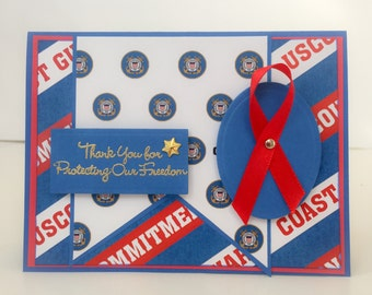 Handmade Patriotic Card, Veterans Day, Coast Guard, Veterans Day Card, Thank You, Military Card, Armed Forces, United States Coast Guard