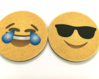 Face With Tears of Joy emoji car coasters and Smiling Face With Sunglasses - Emoji auto coasters - Cup holder car coasters