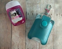Hand Sanitizer Holder for Pocket Bac- Teal Vinyl with Snap, Great for Backpacks, Bags and Purses, Quick Ship, Choose from 24 Colors