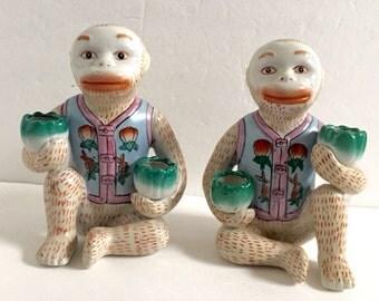 Vintage Pair of Ceramic Chinoiserie Monkeys Candleholders