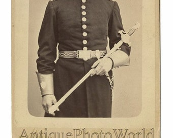 Mason soldier ? with sword antique cabinet photo