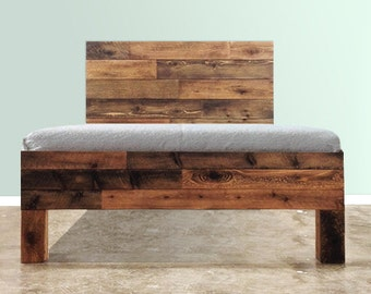 The Homestead Bed - Rustic Rough Sawn Barnwood Bed - Repurposed timber - Handcrafted in Chicago