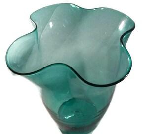 Blenko Handblown Large Green  Glass Vase Excellent Vintage Condition Circa 1940s