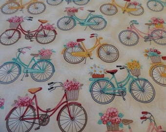 """Bicycles with Basket Curtain Valances 41"""" x 15"""" in 100% Cotton - Handmade New."""