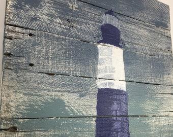 "Nautical Decor Light House Blue and White  20"" x 24"""