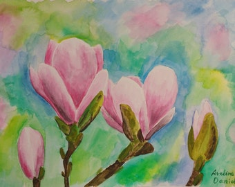 A4 Original watercolour painting - Flowers - Magnolia