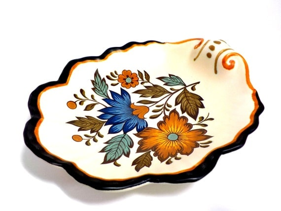 Flora Gouda Dish, Candy Dish, Snack Dish by Flora Gouda Plateel, Made in Holland, Dutch Pottery, Fall Colors
