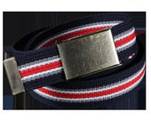 Retro Canvas Belt - Blue, Red, Gray and White