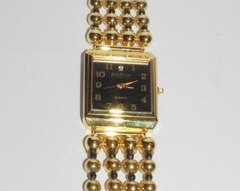 Joan Rivers Watch Black Face with Gold Beads  -     S1405