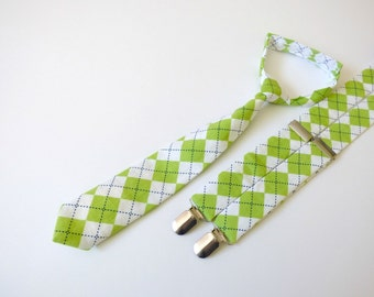Lime green boy baby necktie and suspenders, boy toddler suspenders and necktie, baby boy outfit, infant baby neck tie set  - made to order