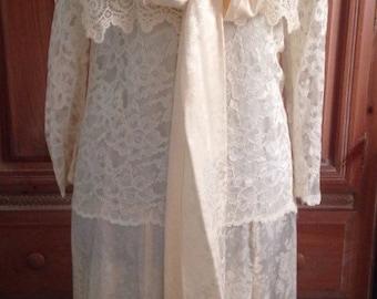 Vintage Jessica McClintock Ivory Silk Wedding Dress