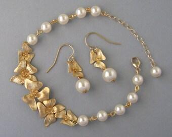 Genuine Swarovski Pearl,Gold Filled, Gold Plated,Cream Pearl Bracelet & Earrings Set,Flower, Orchid,Ivory Swarovski, Bridesmaid Gift- DK745