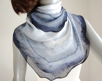 Light Gray Charcoal Scarf, Small Neck Square, Hand Painted Chiffon, Neck Silk Scarf, Hand Dyed, Artist Handmade, One of a Kind, Jossiani