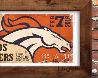 Superbowl 50 - Denver Broncos Vintage Ticket Poster