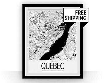 Quebec Map Poster - canada Map Print - Art Deco Series