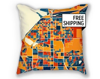 Anchorage Map Pillow - Alaska Map Pillow 18x18