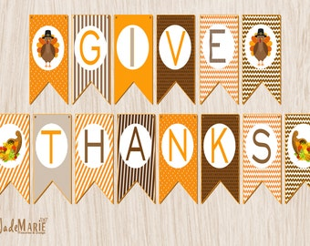 "Thanksgiving printable Holiday banner- ""Give Thanks"" (Instant Download)"