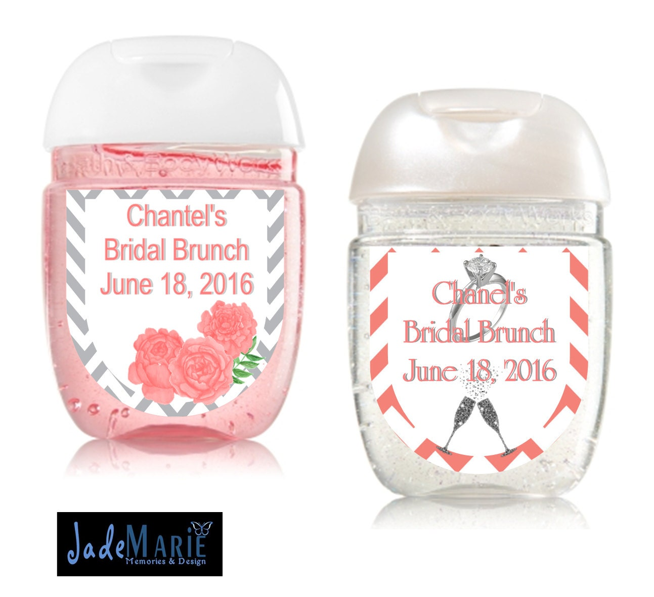 Bridal shower favors hand sanitizer labels coral and grey for Hand sanitizer bridal shower favors