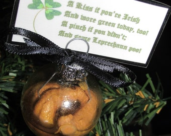 "Leprechaun Poop and Pee in Mini Glass Ornament/Card Holder  ""St. Patrick's Day, Wee 'n a Bit O'gold"""