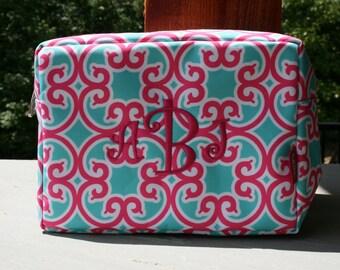 Girls Custom Monogrammed Cosmetic Bag Make Up Bag Pink