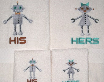 HIS and HERS Robots Bath and Hand Towel Set  Geek Robots Embroidered Bath Towels Anniversary, Wedding Gift or Just for Fun