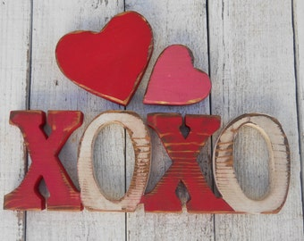 Valentine's Day Special---XOXO wood cutout and two hearts