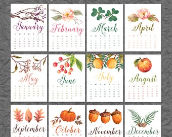 SALE 2016 Printable Calendar January through December - 8x10 Download (12 Pages)