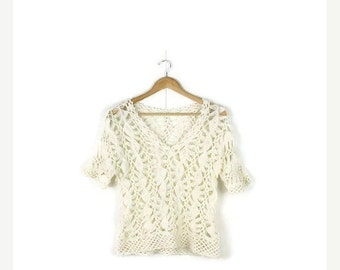 SUMMER SALE Vintage White  Crochet Short sleeve Top from 1990's/Hippies /boho*