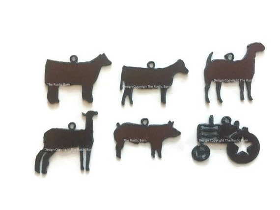 PIG HEIFER GOAT Lamb 4h Show Animals Charm Pendant Cut outs any 3 charms made of Rustic Rusty Rusted Recycled Metal